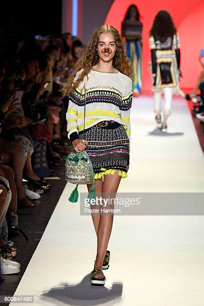 A model walks the runway at Desigual fashion show during New York Fashion Week The Shows September 2016 at The Arc Skylight at Moynihan Station on...