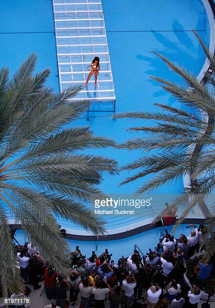 A model walks the runway at Diesel 2009 collection fashion show during MercedesBenz Fashion Week Swim at the Raleigh Hotel on July 17 2008 in Miami...
