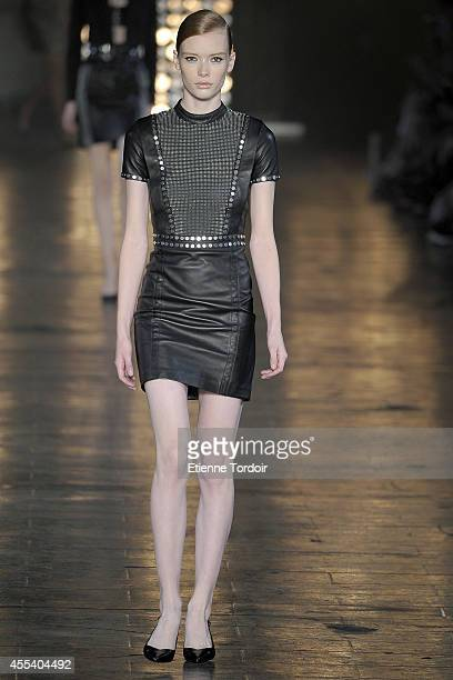 A model walks the runway at Diesel Black Gold during MercedesBenz Fashion Week Spring 2015 at Skylight at Moynihan Station on September 9 2014 in New...