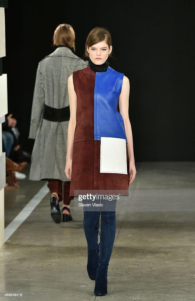 A model walks the runway at Edun fashion show during MercedesBenz Fashion Week Fall 2015 at Skylight Modern on February 15 2015 in New York City
