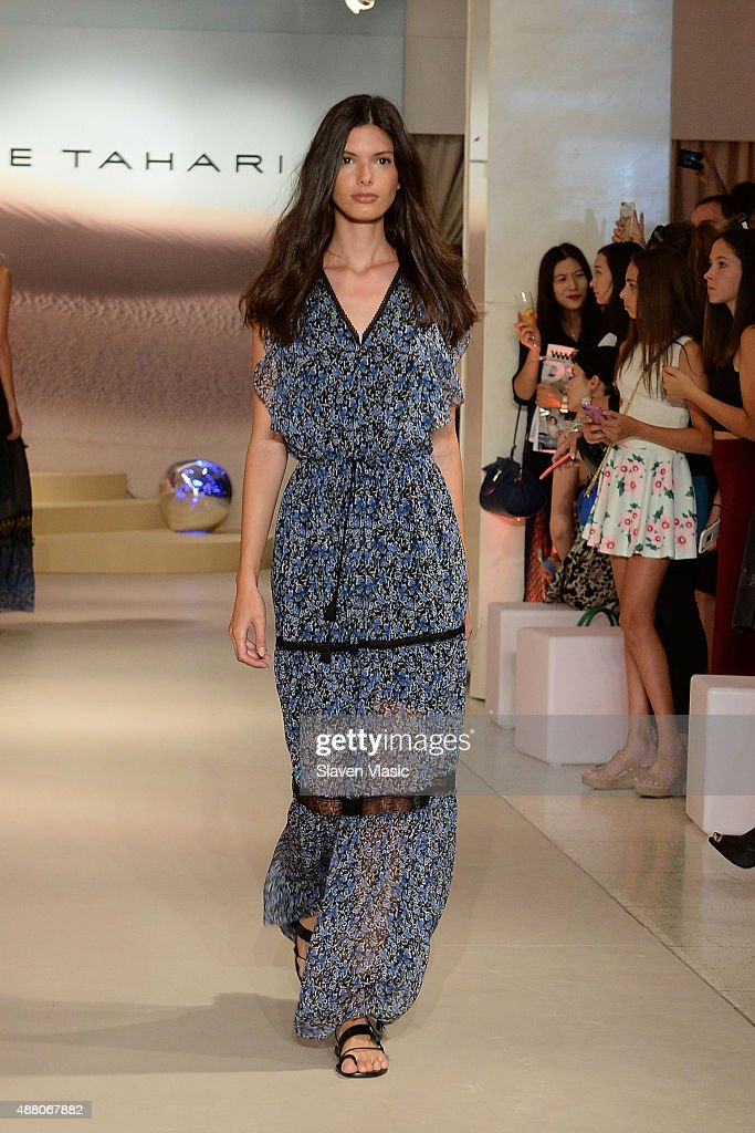 A model walks the runway at Elie Tahari Presentation during the Spring 2016 New York Fashion Week on September 13 2015 in New York City