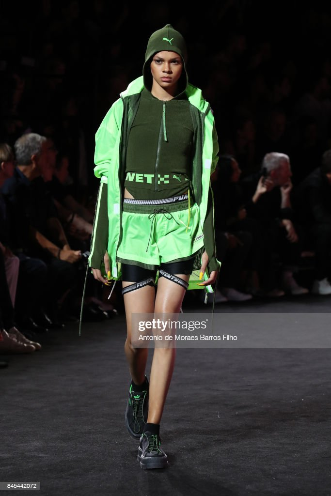 A model walks the runway at Fenty Puma By Rihanna show during New York Fashion Week at the 69th Regiment Armory on September 10, 2017 in New York City.