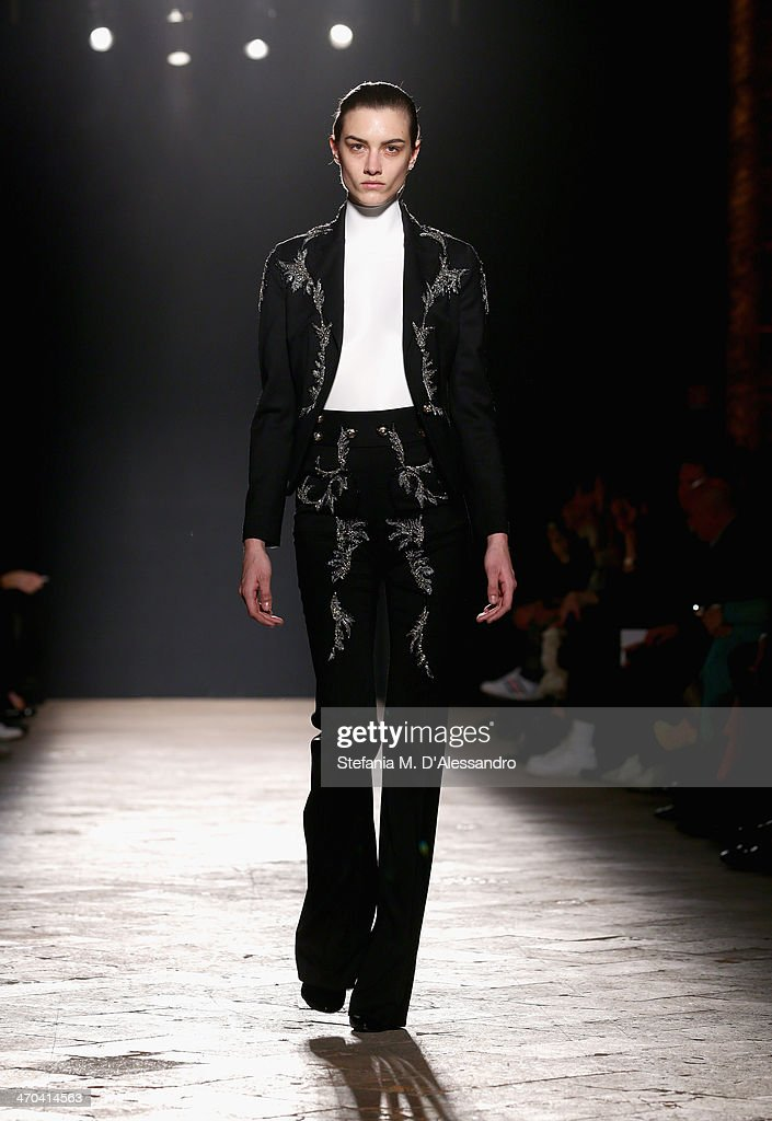 A model walks the runway at Francesco Scognamiglio fashion show during Milan Fashion Week Womenswear Autumn/Winter 2014 on February 19, 2014 in Milan, Italy.