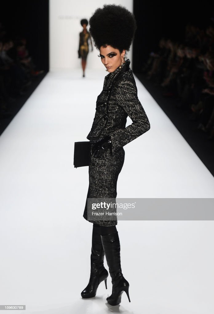 A model walks the runway at Guido Maria Kretschmer Autumn/Winter 2013/14 fashion show during Mercedes-Benz Fashion Week Berlin at Brandenburg Gate on January 17, 2013 in Berlin, Germany.