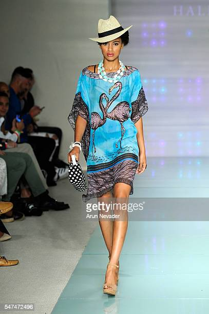 A model walks the runway at Hale Bob Runway Show during Art Hearts Fashion Miami Swim Week Presented by AIDS Healthcare Foundation at Collins Park on...