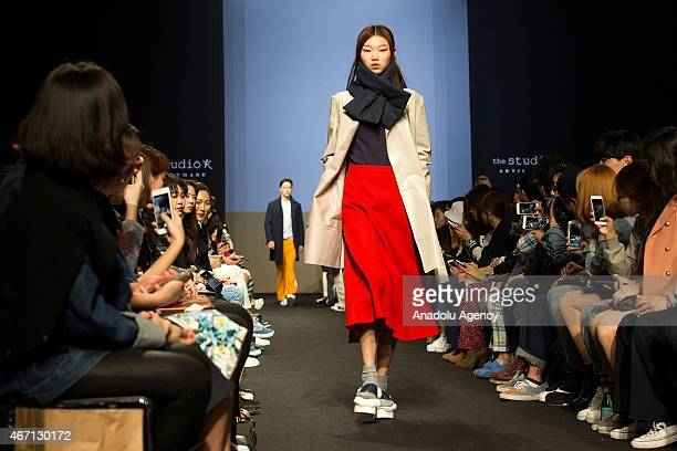 A model walks the runway at Hong HyeJin show during the Seoul Fashion Week Fall/Winter 2015 at Dongdaemun Design Plaza on March 21 2015 in Seoul...