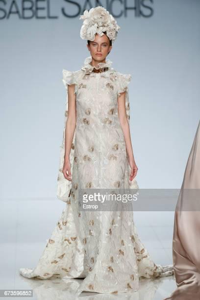 A model walks the runway at isabel Sanchis show during Barcelona Bridal Week 2017 on April 26 2017 in Barcelona Spain