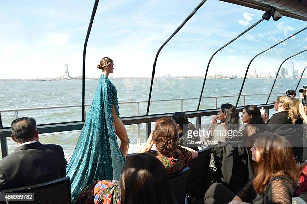 A model walks the runway at J Spring Fashion Show 2015 at cruising boat on Hudson River a part of Jessica Minh AnhÕs series of catwalks at the most...