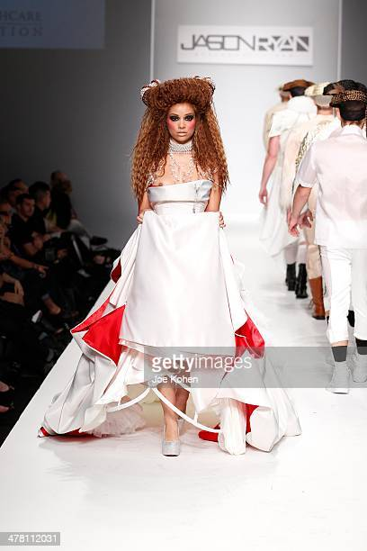 A model walks the runway at Jason Ryan fashion show during Style Fashion Week Day 3 at LA Live Event Deck on March 11 2014 in Los Angeles California