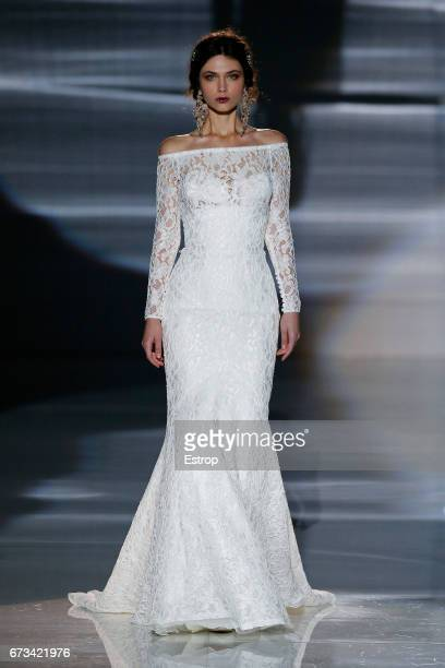 A Model walks the runway at Jesús Peiró show during Barcelona Bridal Fashion Week 2017 on April 26 2017 in Barcelona Spain on April 26 2017 in...