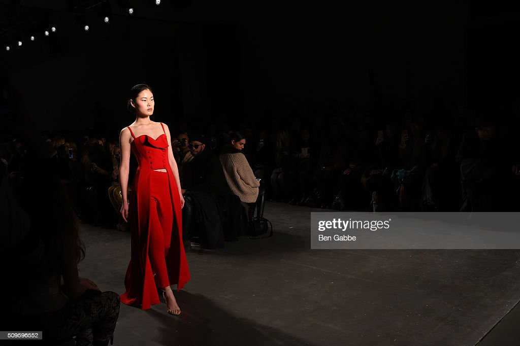A model walks the runway at John Paul Ataker - Front Row at Pier 59 on February 11, 2016 in New York City.