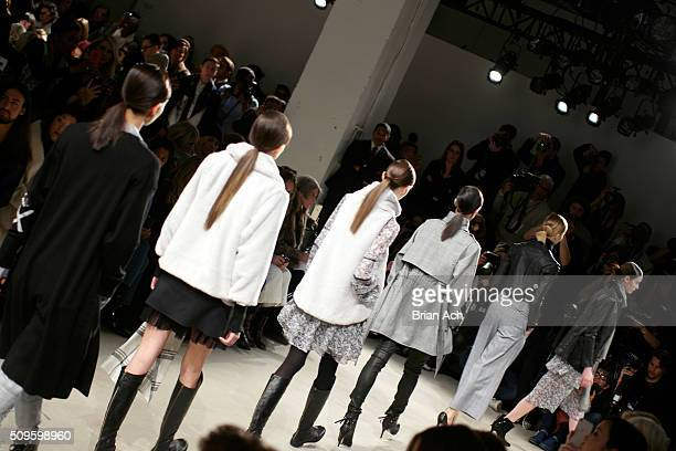 A model walks the runway at John Paul Ataker Front Row at Pier 59 on February 11 2016 in New York City