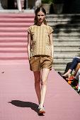 A model walks the runway at Jorge Vazquez Catwalk on September 11 2014 in Madrid Spain