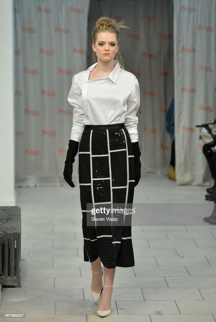 A model walks the runway at JSong ... Way presentation on February 5, 2014 in New York City.
