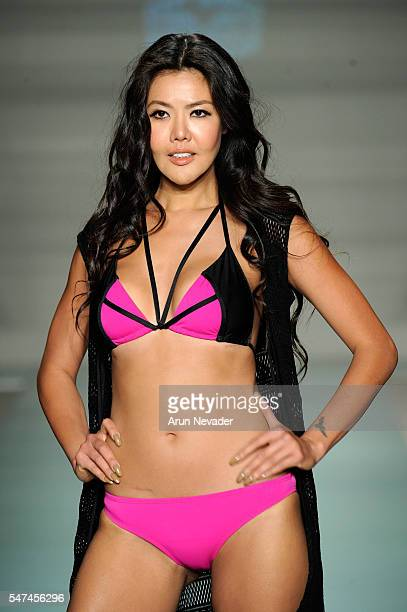 A model walks the runway at Just Bones Boardwear Runway Show during Art Hearts Fashion Miami Swim Week Presented by AIDS Healthcare Foundation at...