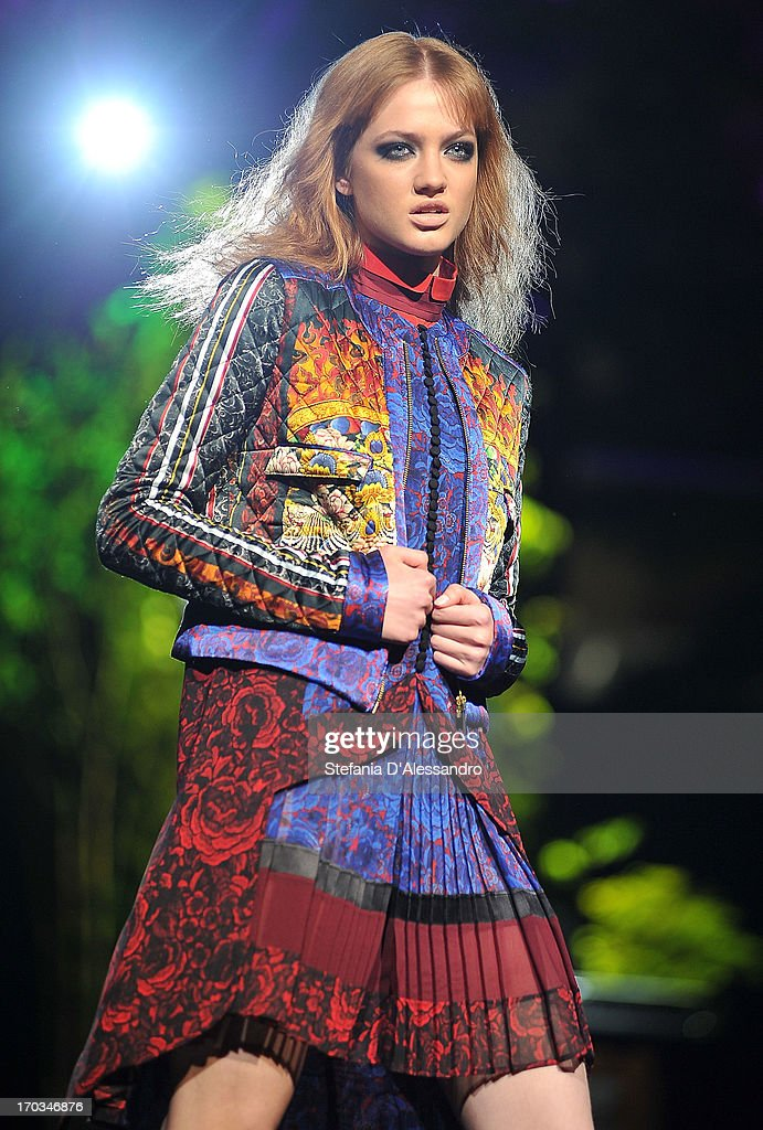 A model walks the runway at Just Cavalli fashion show as part of Glamour Live Show on June 11, 2013 in Milan, Italy.