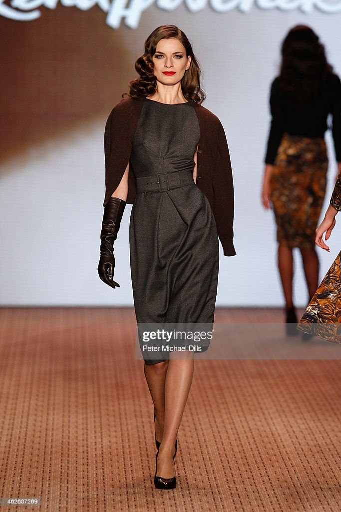A model walks the runway at Lena Hoschek show during Mercedes-Benz Fashion Week Autumn/Winter 2014/15 at Brandenburg Gate on January 14, 2014 in Berlin, Germany.