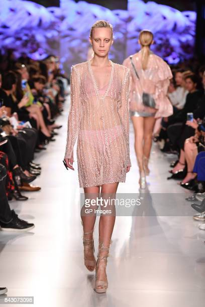 A model walks the runway at Lucian Matis show during Toronto Fashion Week at BloorYorkville on September 5 2017 in Toronto Canada