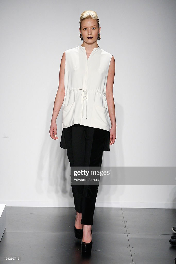 A model walks the runway at Maison Matthew Gallagher at David Pecaut Square on March 21, 2013 in Toronto, Canada.