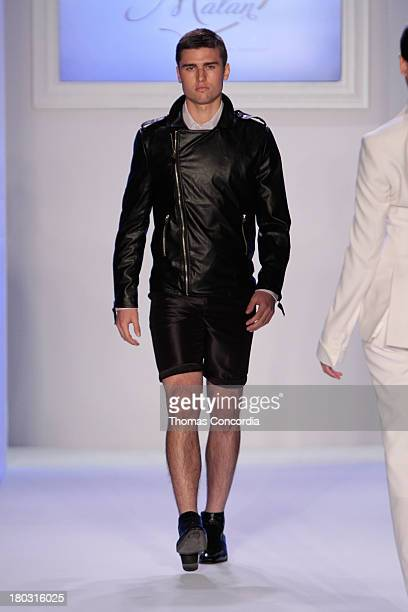 A model walks the runway at Malan By Malan Breton Sponsored by Fancy Feast Gourmet Cat Food at the STYLE360 Fashion Pavilion in Chelsea on September...