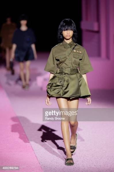 Model walks the runway at Marc Jacobs during MercedesBenz Fashion Week Spring 2015 at Seventh Regiment Armory on September 11 2014 in New York City