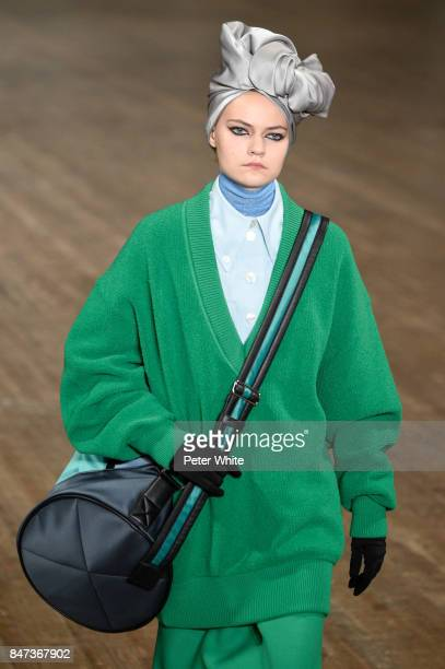 A model walks the runway at Marc Jacobs Show during New York Fashion Week The Shows at Park Avenue Armory on September 13 2017 in New York City