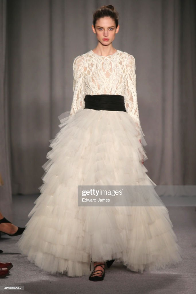 A model walks the runway at Marchesa during Mercedes-Benz Fashion Week Fall 2014 at New York Public Library on February 12, 2014 in New York City.