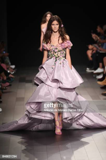 A model walks the runway at Marchesa show during New York Fashion Week at Gallery 1 Skylight Clarkson Sq on September 13 2017 in New York City