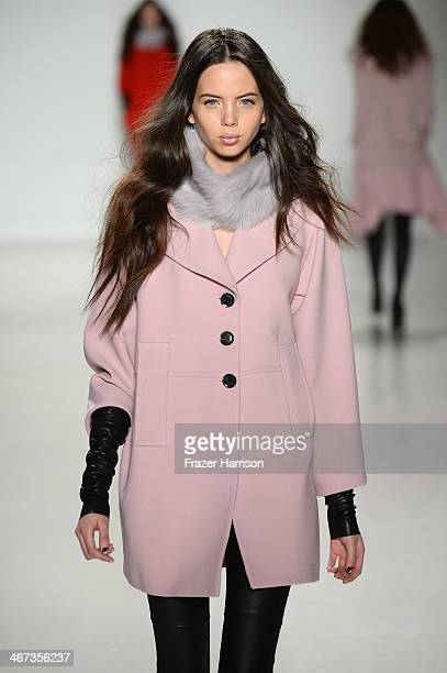 A model walks the runway at Marissa Webb fashion show during MercedesBenz Fashion Week Fall 2014 at The Salon at Lincoln Center on February 6 2014 in...
