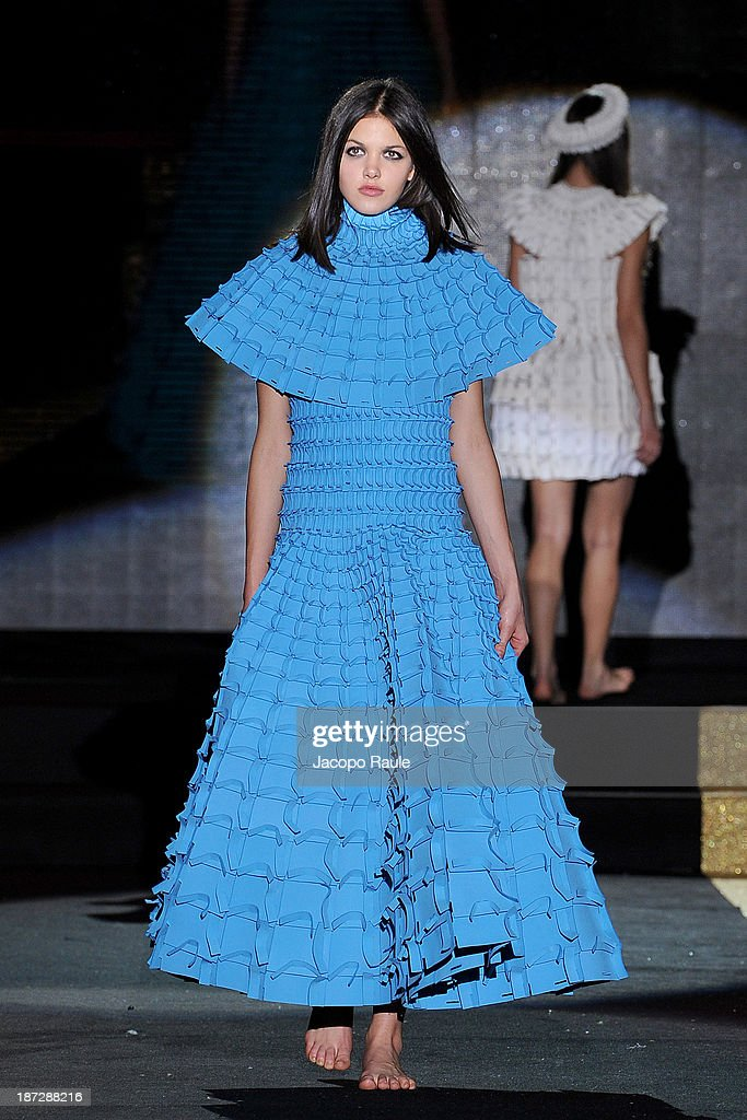 A model walks the runway at Matija Cop Fashion Show during the Mittelmoda Special Edition 2013 for Lectra on November 7, 2013 in Milan, Italy.
