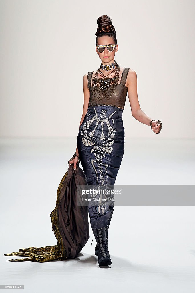 A model walks the runway at Miranda Konstantinidou Autumn/Winter 2013/14 fashion show during Mercedes-Benz Fashion Week Berlin at Brandenburg Gate on January 18, 2013 in Berlin, Germany.