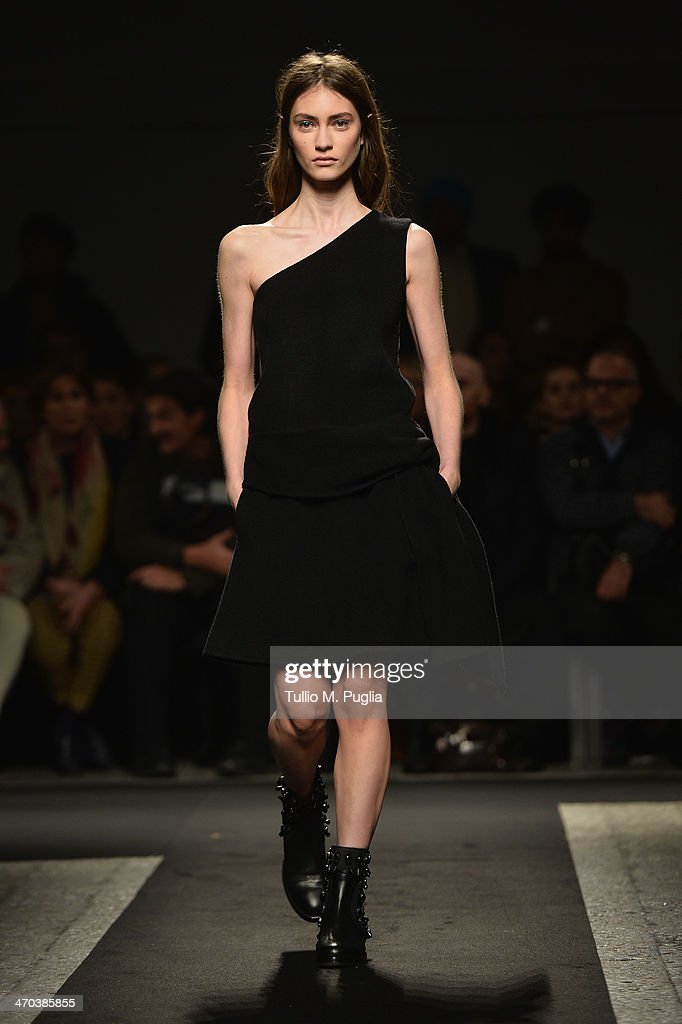 A model walks the runway at N 21 fashion show during Milan Fashion Week Womenswear Autumn/Winter 2014 on February 19, 2014 in Milan, Italy.
