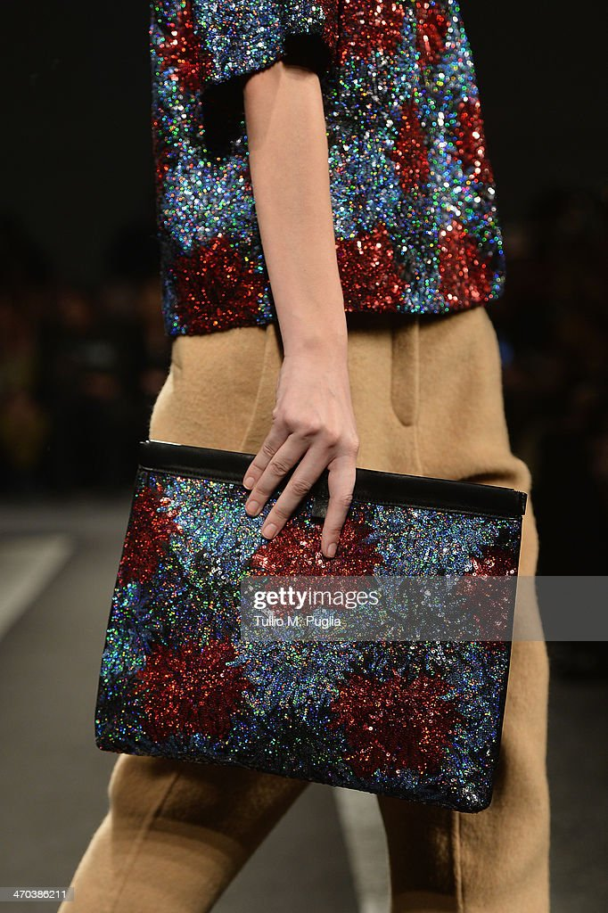 A model walks (bag detail) the runway at N 21 fashion show during Milan Fashion Week Womenswear Autumn/Winter 2014 on February 19, 2014 in Milan, Italy.