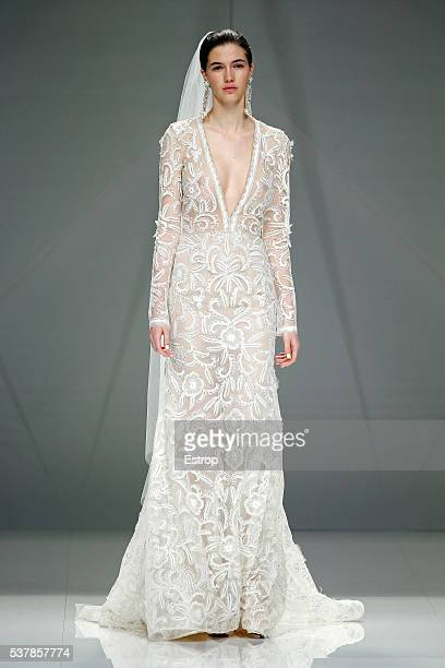 A model walks the runway at Naeem Khan bridal fashion Season 2017 show during 'Barcelona Bridal Fashion Week 2016' on April 27 2016 in Barcelona Spain