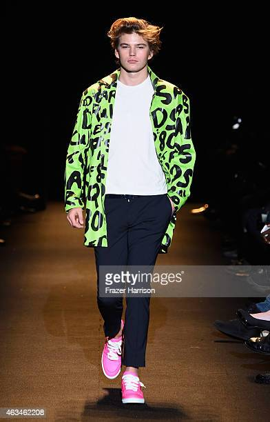 A model walks the runway at Naomi Campbell's Fashion For Relief Charity Fashion Show during MercedesBenz Fashion Week Fall 2015 at The Theatre at...