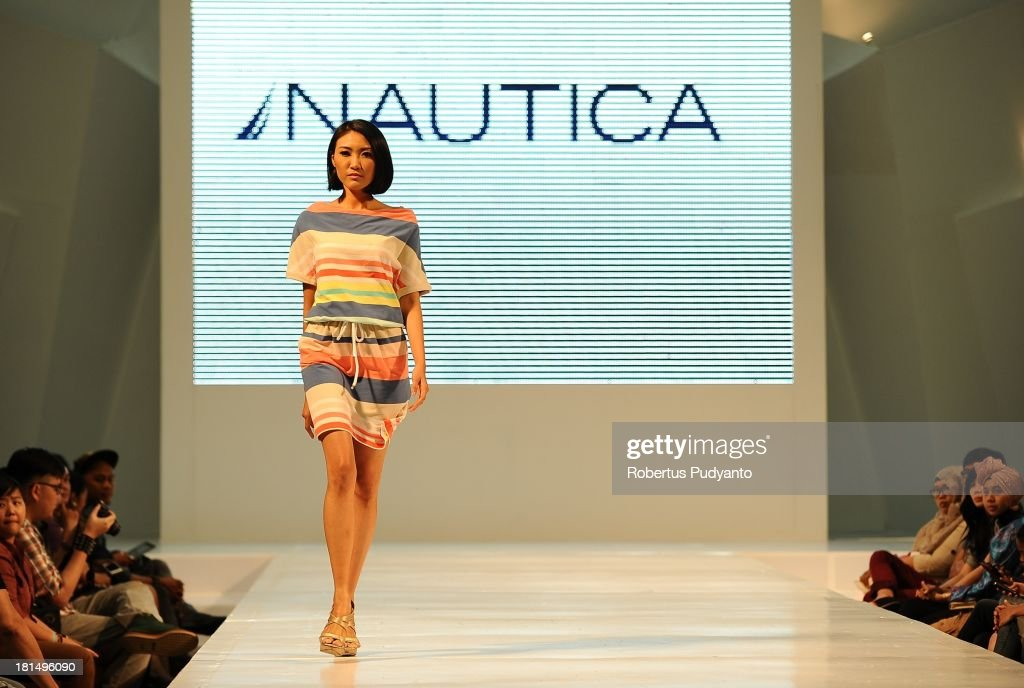 A model walks the runway at Nautica fashion show during Ciputra World Fashion Week on September 21, 2013 in Surabaya, Indonesia.