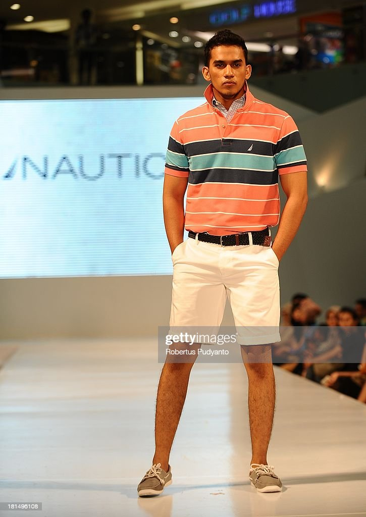 A model walks the runway at Nautica fashion show during Ciputra World Fashion Week on September 21, 2013 in Surabaya, Indonesia.
