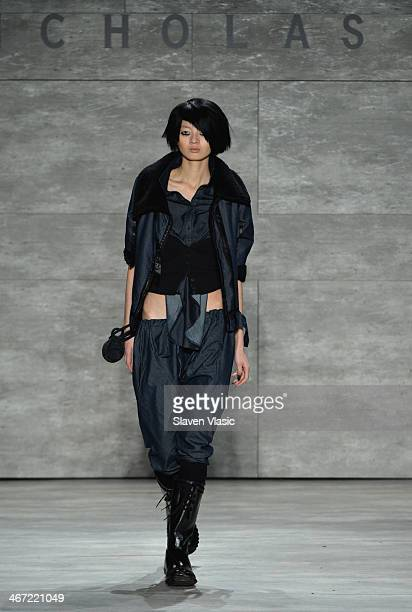 A model walks the runway at Nicholas K fashion show during MercedesBenz Fashion Week Fall 2014 at The Pavilion at Lincoln Center on February 6 2014...