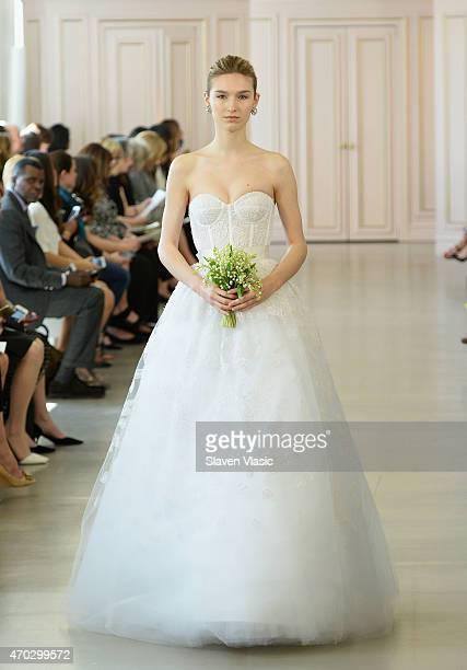 A model walks the runway at Oscar De La Renta Bridal Spring/Summer 2016 Runway Show at Oscar de la Renta Boutique on April 18 2015 in New York City