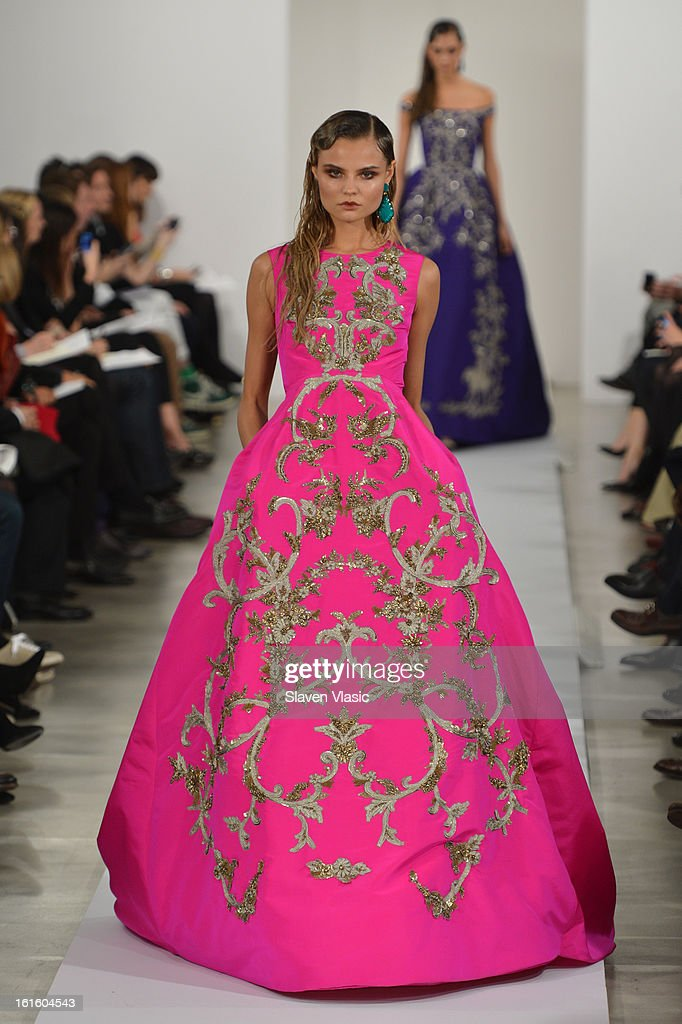 A model walks the runway at Oscar De La Renta Fall 2013 Collections during Mercedes-Benz Fashion Week Fall 2013 - Official Coverage - Best of Runway Day 6 at at Lincoln Center on February 12, 2013 in New York City.
