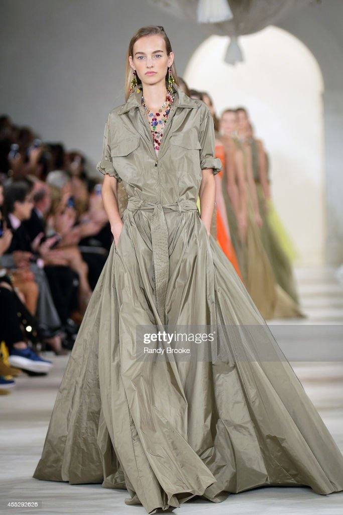A model walks the runway at Ralph Lauren during MercedesBenz Fashion Week Spring 2015 at Skylight Clarkson Sq on September 11 2014 in New York City