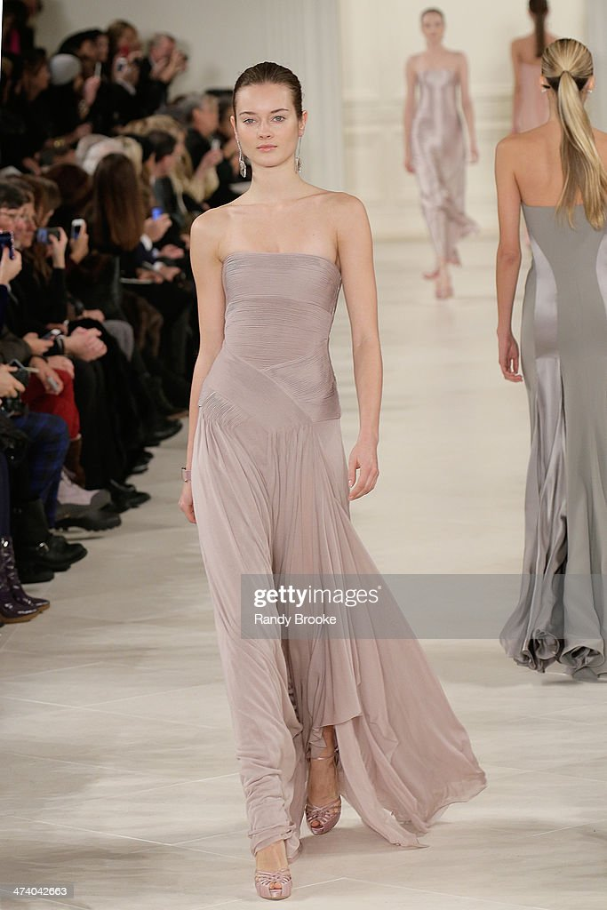 A model walks the runway at Ralph Lauren during Mercedes-Benz Fashion Week Fall 2014 at St. John's Center Studios on February 13, 2014 in New York City.