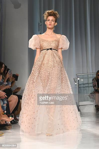 A model walks the runway at Reem Acra fashion show during New York Fashion Week at Mercantile Annex on September 13 2016 in New York City