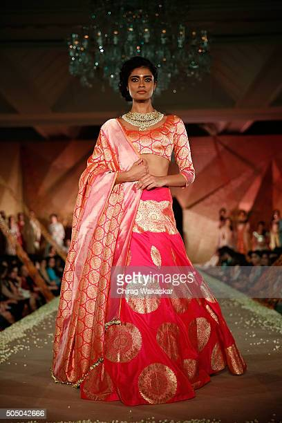 A model walks the runway at Regal Threads Fashion Show By Manish Malhotra at Trident Hotel on January 14 2016 in Mumbai India