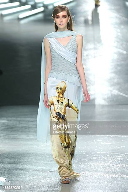 A model walks the runway at Rodarte during MercedesBenz Fashion Week Fall 2014 at Center 548 on February 11 2014 in New York City