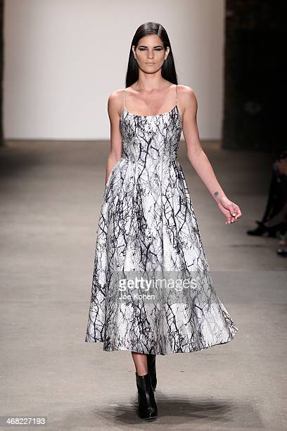 A model walks the runway at Rolando Santana during Mercedes Benz Fashion Week Fall 2014 at Eyebeam on February 9 2014 in New York City