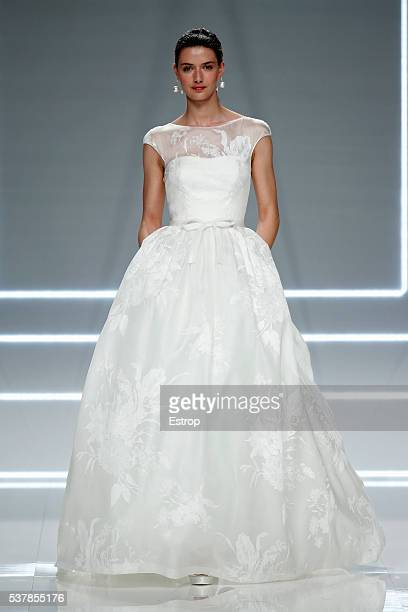 A model walks the runway at Rosa Clara bridal fashion Season 2017 show during 'Barcelona Bridal Fashion Week 2016' on April 26 2016 in Barcelona Spain