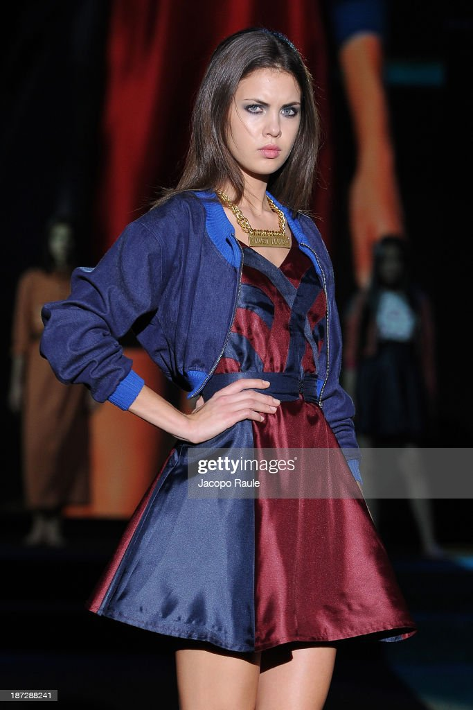 A model walks the runway at Sara Lopardo Fashion Show during the Mittelmoda Special Edition 2013 for Lectra on November 7, 2013 in Milan, Italy.