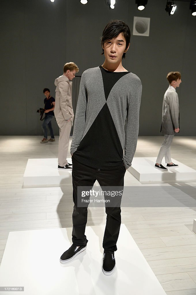 A model walks the runway at Sopopular show during Mercedes-Benz Fashion Week Spring/Summer 2014 at Brandenburg Gate on July 2, 2013 in Berlin, Germany.