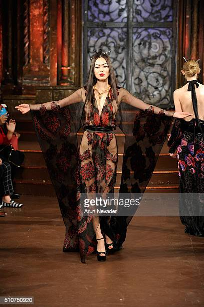 A model walks the runway at Stello Official Art Hearts Fashion NYFW Fall/Winter 2016 at The Angel Orensanz Foundation on February 16 2016 in New York...